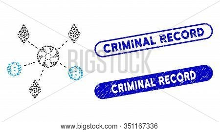 Mosaic Cryptocurrency Blender Rotor And Grunge Stamp Seals With Criminal Record Caption. Mosaic Vect