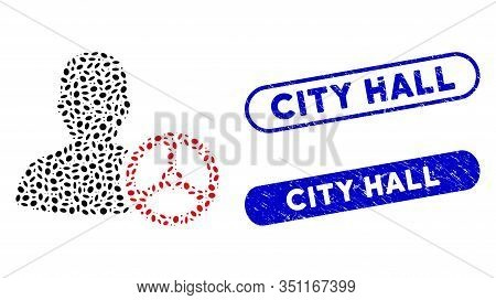 Mosaic Driver Person And Distressed Stamp Seals With City Hall Text. Mosaic Vector Driver Person Is