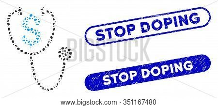 Mosaic Dollar Health And Grunge Stamp Watermarks With Stop Doping Text. Mosaic Vector Dollar Health