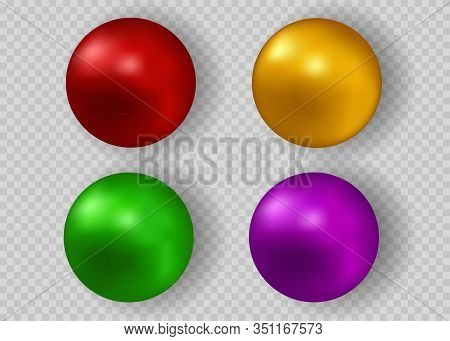 Multicolored Pearls. Vector Jewellery Nacre Beads Isolated