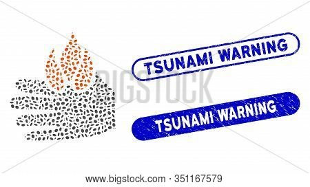 Mosaic Burn Hand And Distressed Stamp Seals With Tsunami Warning Text. Mosaic Vector Burn Hand Is Co