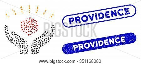 Mosaic Dice Win Hands And Grunge Stamp Seals With Providence Phrase. Mosaic Vector Dice Win Hands Is
