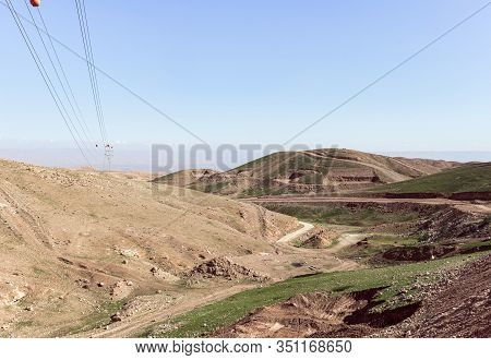 Panoramic View Of The Hills Of Samaria With Poles With High Voltage Power Lines In Israel