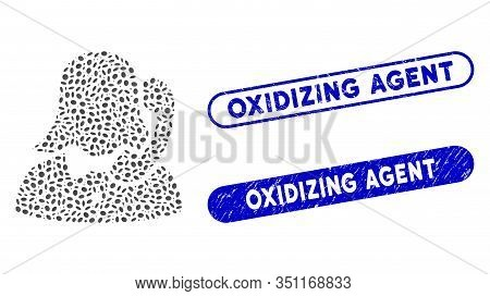 Mosaic Reception Girl And Distressed Stamp Seals With Oxidizing Agent Phrase. Mosaic Vector Receptio
