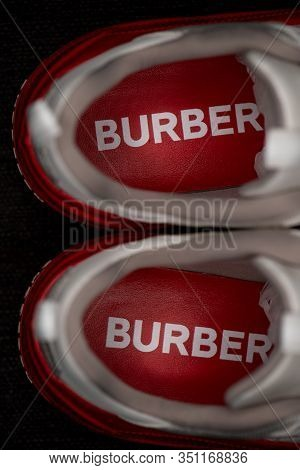 Shanghai, China - January 21, 2020: Burberry Arthur Shoes. The Style Is Capped With A Polished Overs