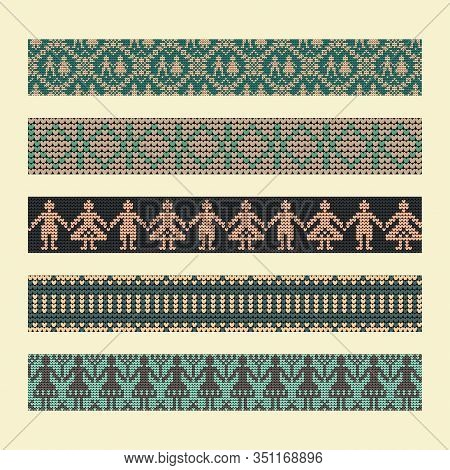 Norwegian Traditional Ornament. Borders With Anthropomorphic Ornament. Knitting Pattern. Vector.