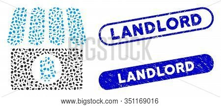 Mosaic Bitcoin Shop And Rubber Stamp Seals With Landlord Phrase. Mosaic Vector Bitcoin Shop Is Desig