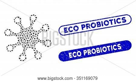Collage Axenic And Rubber Stamp Watermarks With Eco Probiotics Phrase. Mosaic Vector Axenic Is Creat