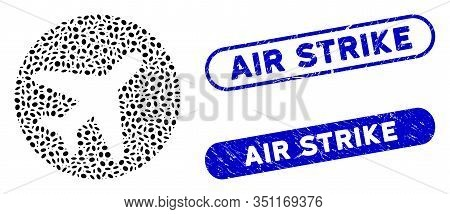 Mosaic Avion And Grunge Stamp Watermarks With Air Strike Text. Mosaic Vector Avion Is Designed With
