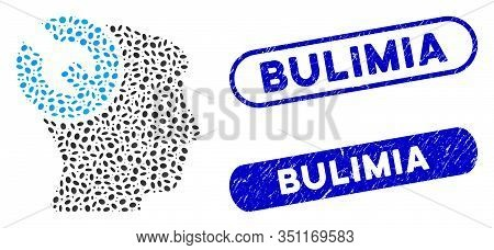 Mosaic Head Surgery Wrench And Rubber Stamp Seals With Bulimia Text. Mosaic Vector Head Surgery Wren