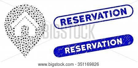 Mosaic House Marker And Corroded Stamp Watermarks With Reservation Caption. Mosaic Vector House Mark