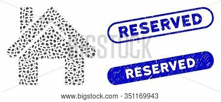 Mosaic House And Rubber Stamp Seals With Reserved Caption. Mosaic Vector House Is Created With Rando