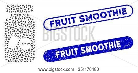 Mosaic Medication Vial And Rubber Stamp Watermarks With Fruit Smoothie Text. Mosaic Vector Medicatio