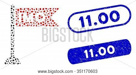 Mosaic Imo Flag And Distressed Stamp Seals With 11.00 Phrase. Mosaic Vector Imo Flag Is Designed Wit
