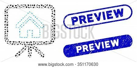 Mosaic House Project And Grunge Stamp Seals With Preview Text. Mosaic Vector House Project Is Design