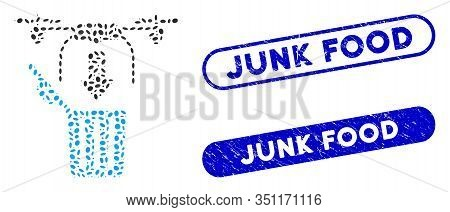 Mosaic Drone Drop Trash And Corroded Stamp Seals With Junk Food Phrase. Mosaic Vector Drone Drop Tra