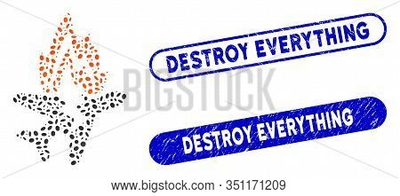 Mosaic Airplane Burn And Corroded Stamp Seals With Destroy Everything Phrase. Mosaic Vector Airplane