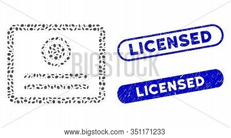 Collage Diploma And Distressed Stamp Seals With Licensed Caption. Mosaic Vector Diploma Is Formed Wi