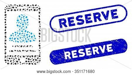 Mosaic Mobile Account And Rubber Stamp Seals With Reserve Caption. Mosaic Vector Mobile Account Is C
