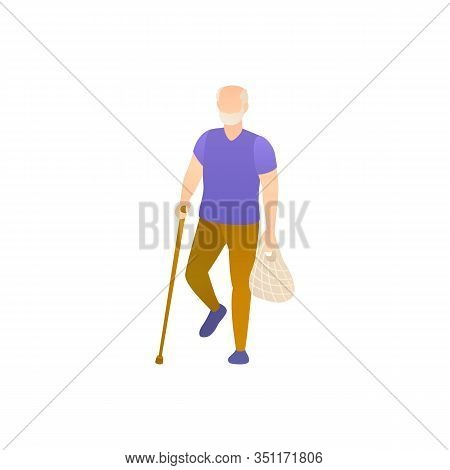 An Elderly Man With A Cane, Flat Vector Illustration. Old Man Walking Down The Street And Limps Lean