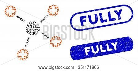 Mosaic Global Medical Links And Rubber Stamp Watermarks With Fully Caption. Mosaic Vector Global Med