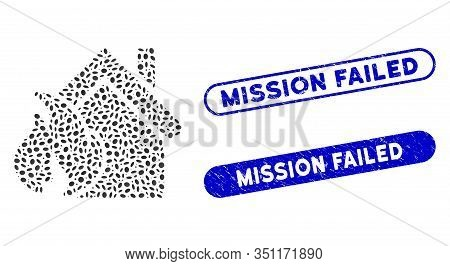 Mosaic Realty Fire Disaster And Grunge Stamp Seals With Mission Failed Caption. Mosaic Vector Realty
