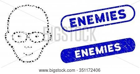 Mosaic Bald Head And Grunge Stamp Seals With Enemies Caption. Mosaic Vector Bald Head Is Formed With