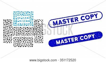 Mosaic Printer And Rubber Stamp Seals With Master Copy Text. Mosaic Vector Printer Is Formed With Ra