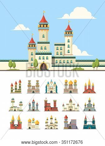 Medieval Castles. Old Palazzo Building Hill Towers Vector Flat Illustration. Castle Building, Mediev