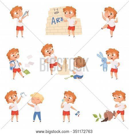 Bad Behavior Kids. School Sad Boys And Girls Angry Devil Little Persons Vector Characters. Boy Behav