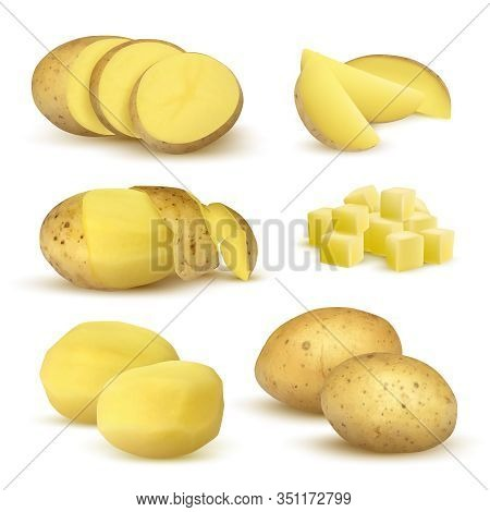 Realistic Potatoes. Grocery Natural Products Vegetables Fresh Sliced Eco Food Plants For Vegetarian
