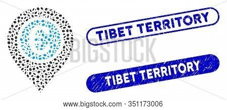Mosaic Euro Pointer And Distressed Stamp Seals With Tibet Territory Text. Mosaic Vector Euro Pointer