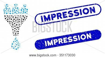 Mosaic Euro Sales Funnel And Rubber Stamp Seals With Impression Phrase. Mosaic Vector Euro Sales Fun