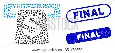 Mosaic Atm And Distressed Stamp Seals With Final Phrase. Mosaic Vector Atm Is Designed With Scattere