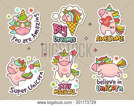 Unicorn Badges. Fashion Labels Set Or Stickers With Fairytale Characters Vector Retro Objects Set. U