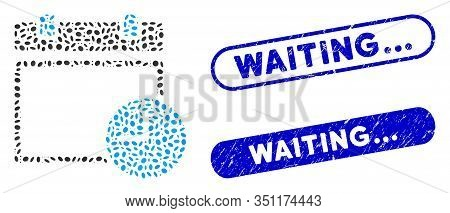 Mosaic Calendar Page And Time And Distressed Stamp Seals With Waiting... Phrase. Mosaic Vector Calen