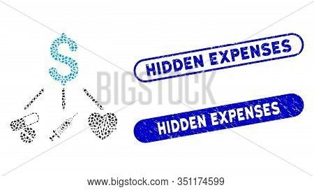 Mosaic Medical Budget And Distressed Stamp Seals With Hidden Expenses Caption. Mosaic Vector Medical