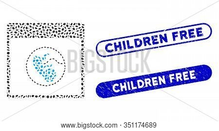 Mosaic Human Embryo Calendar Page And Rubber Stamp Watermarks With Children Free Caption. Mosaic Vec
