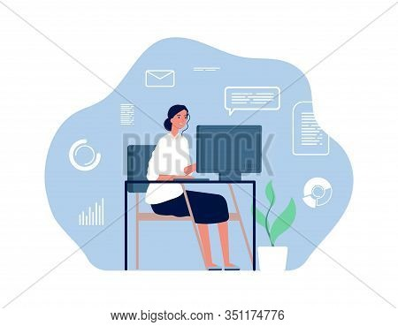 Computer Worker. Woman Sitting Desk, Home Workplace. Young Office Girl, Overworked Businesswoman. Ad