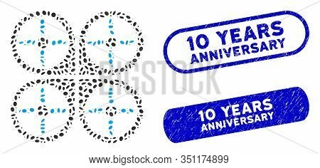 Mosaic Copter And Corroded Stamp Seals With 10 Years Anniversary Phrase. Mosaic Vector Copter Is For