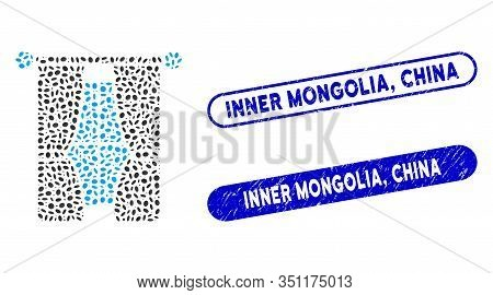 Collage Interior Curtains And Corroded Stamp Seals With Inner Mongolia, China Phrase. Mosaic Vector