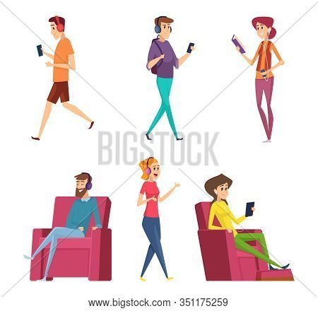 Listening Headset Music. Characters Male And Female Relaxing On Sofa Or Couch Happy Persons Laying V