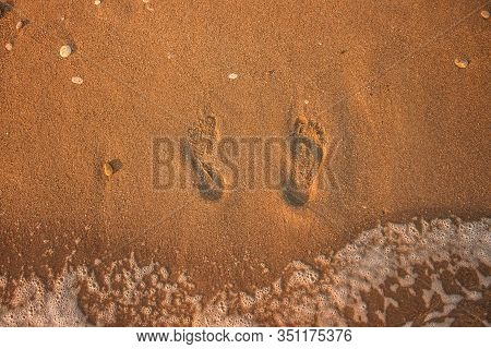 Footprints On Sand Texture Beach Ground And Sea Side Wave Water Top View Outside Background Wallpape