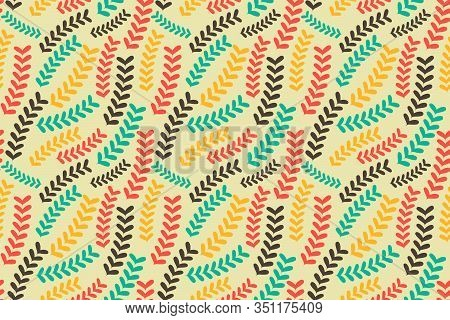 Vintage Floral Seamless Pattern With Small Plants On Light Background. Vector Illustration For Wallp