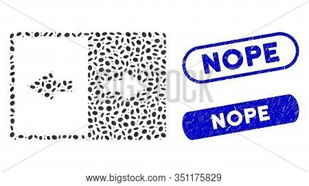 Mosaic Invert And Rubber Stamp Seals With Nope Text. Mosaic Vector Invert Is Designed With Randomize
