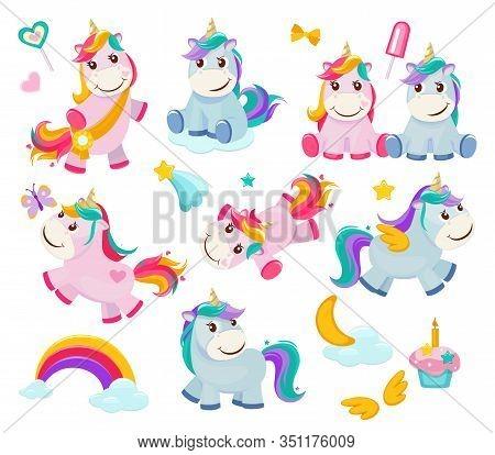 Cartoon Unicorn. Cute Funny Fairytale Characters Magic Pony Happy Animals Vector Illustrations. Unic