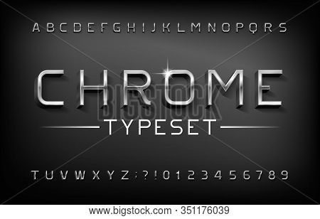 Chrome Alphabet Font. 3d Metal Letters And Numbers With Shadow. Stock Vector Typeset For Your Typogr