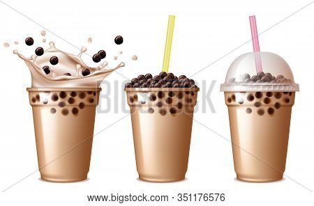 Bubble Tea Drink. Cold Tea With Milk Delicious Beverage Drinking Products Tapioca Splashing Liquid F