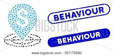 Mosaic Money Target And Grunge Stamp Watermarks With Behaviour Caption. Mosaic Vector Money Target I