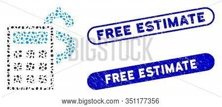 Mosaic Business Calculator And Grunge Stamp Seals With Free Estimate Phrase. Mosaic Vector Business